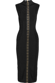 Ribbed stretch-knit midi dress