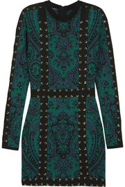 Balmain Lace-up jacquard-knit mini dress