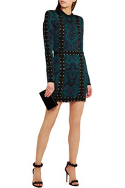 Lace-up jacquard-knit mini dress