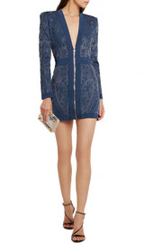 Balmain Paisley-intarsia stretch-knit mini dress