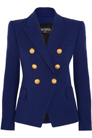 Balmain Double-breasted stretch cotton-blend blazer
