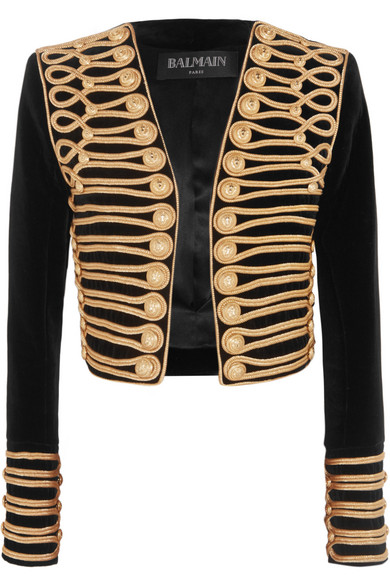 Balmain - Cropped Embellished Velvet Jacket - Black