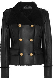 Double-breasted shearling biker jacket