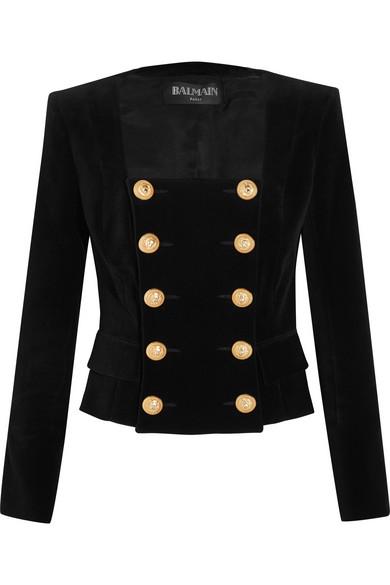 Balmain - Double-breasted Velvet Jacket - Black