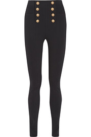 Balmain Embellished stretch-crepe skinny pants