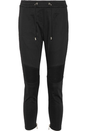 Balmain Moto-style stretch-cotton track pants