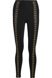 Balmain Embellished ribbed  stretch-knit leggings