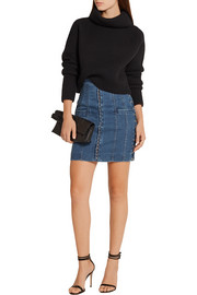 Balmain Lace-up stretch-denim mini skirt