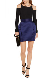 Balmain Pleated satin mini skirt