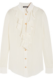Balmain Ruffled silk crepe de chine blouse