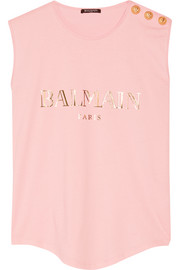 Balmain Embellished printed cotton-jersey top