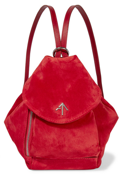 Fernweh Micro Leather-Trimmed Suede Wristlet Bag in Red