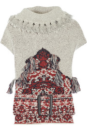 Toga Belted fringed wool-blend jacquard sweater