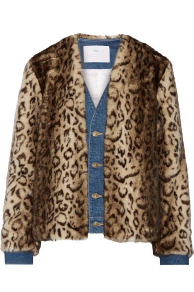 Toga - Denim-trimmed Leopard-print Faux Fur Jacket - Leopard print