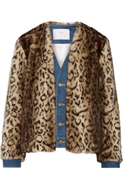 Denim-trimmed leopard-print faux fur jacket