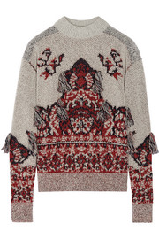 Toga Fringed wool-blend jacquard sweater