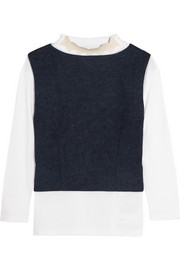 Layered wool-felt and cotton-jersey top