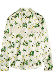 Toga Fringed leather-trimmed floral-print satin shirt