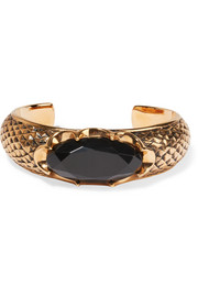Burnished gold-plated crystal cuff
