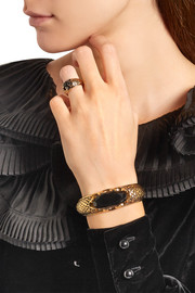 Saint Laurent Burnished gold-plated crystal cuff