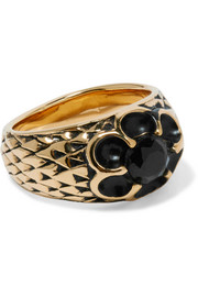 Burnished gold-plated crystal ring