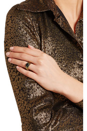 Saint Laurent Burnished gold-plated crystal ring