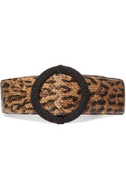 Python-effect leather waist belt