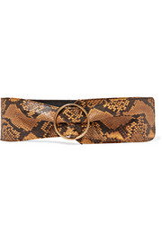 Snake-effect leather waist belt