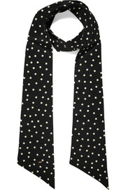 Saint Laurent Polka-dot silk crepe de chine scarf