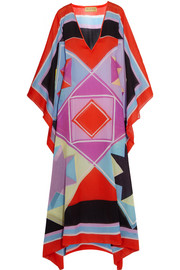 Printed cotton-voile kaftan