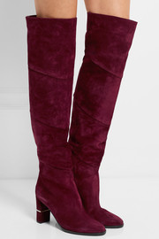 Jimmy Choo Maira paneled suede over-the-knee boots