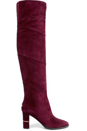 Maira paneled suede over-the-knee boots