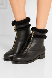 Jimmy Choo Denver shearling-trimmed leather ankle boots