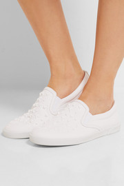 Jimmy Choo Demi star-embellished leather slip-on sneakers