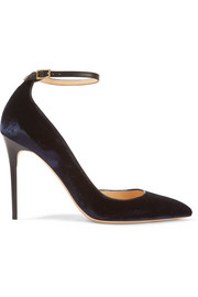 Jimmy Choo Lucy leather-trimmed velvet pumps