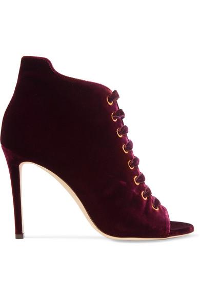 Jimmy Choo - Mavy Velvet Boots - Claret