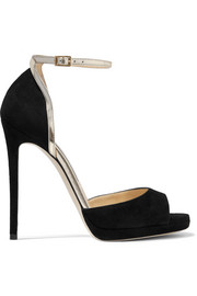Jimmy Choo Pearl metallic leather-trimmed suede sandals