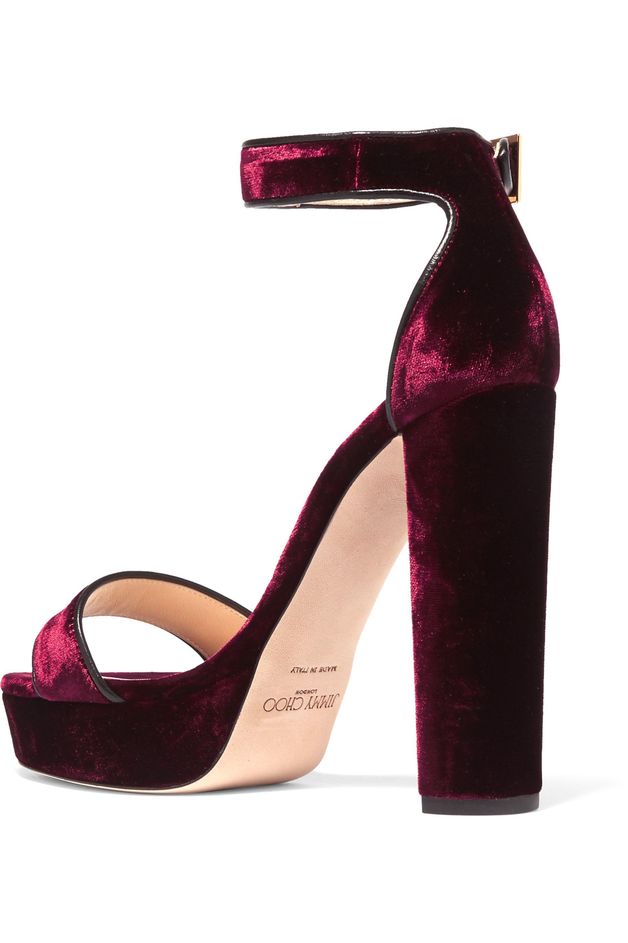 Jimmy Choo Holly leather-trimmed velvet platform sandals