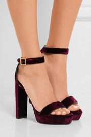 Jimmy Choo Holly leather-trimmed velvet platform sandals