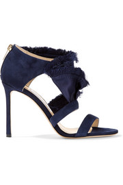 Jimmy Choo Kiki ruffled satin and suede sandals