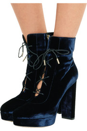 Jimmy Choo Deon lace-up velvet platform ankle boots