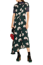 Asymmetric printed silk-chiffon midi dress