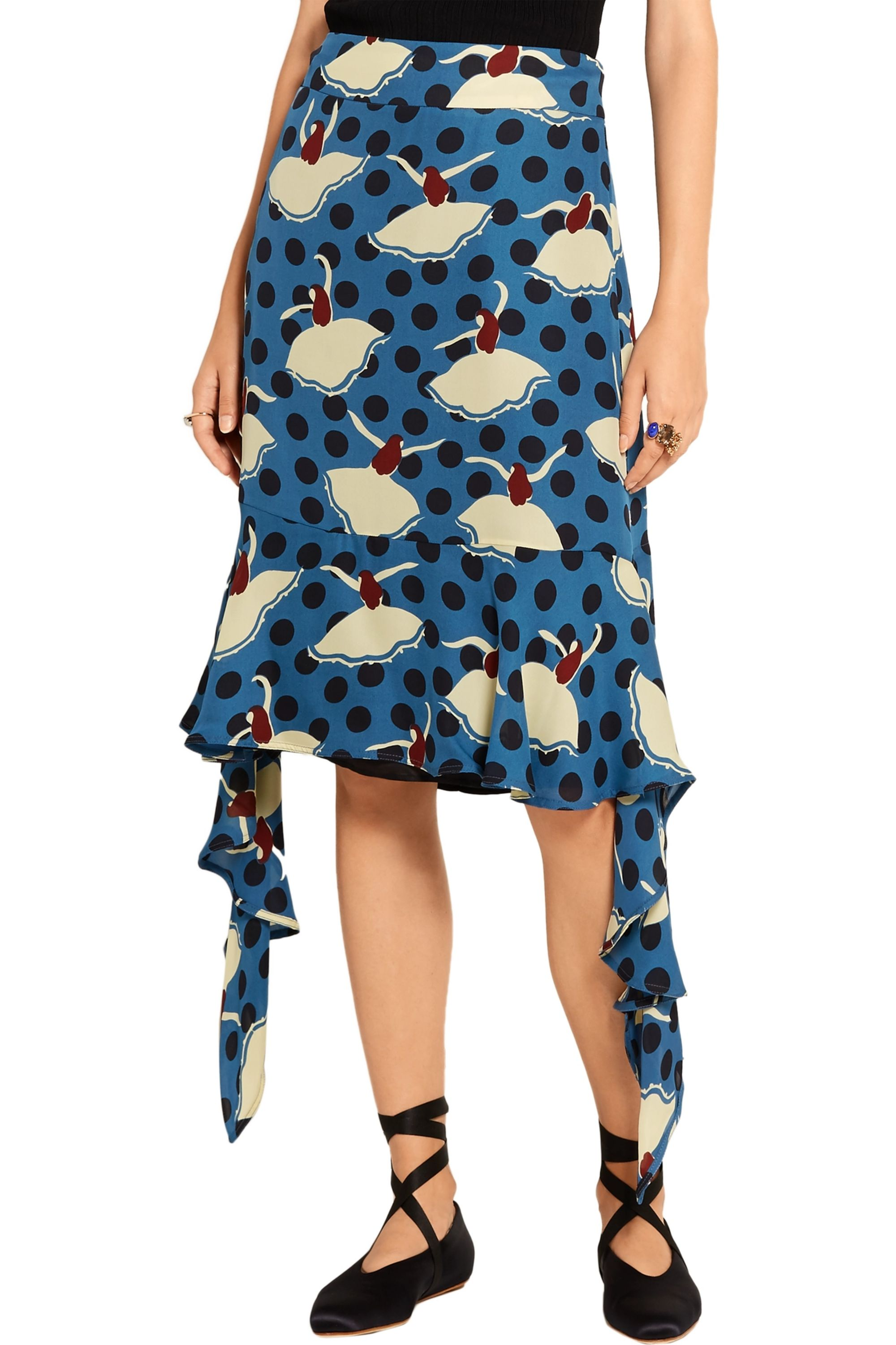 Marni Draped printed silk-crepe skirt