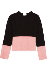Open-back two-tone cashmere sweater