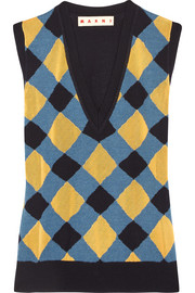 Marni Intarsia wool and silk-blend tank