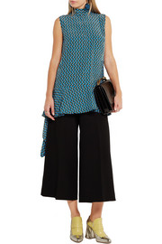 Marni Draped printed silk-georgette top