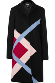 Color-block wool-blend felt coat
