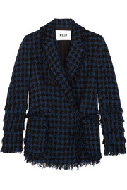 MSGM Fringed houndstooth tweed jacket