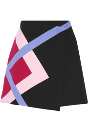 MSGM Color-block wool-blend felt wrap mini skirt