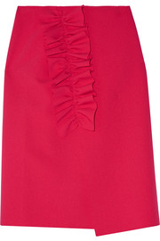 MSGM Asymmetric ruffled stretch-crepe wrap skirt
